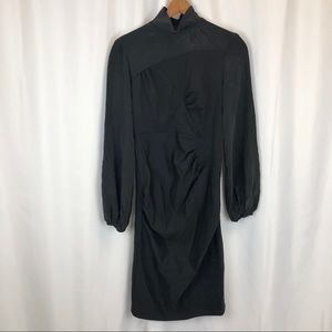 SPORTMAX silk wool fitted ruched dress long sleeve